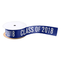 White Graduate Class Of 2018 Typography Navy Blue Satin Ribbon