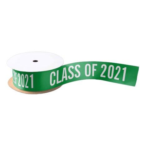 White Graduate Class Of 2021 Typography Green Satin Ribbon