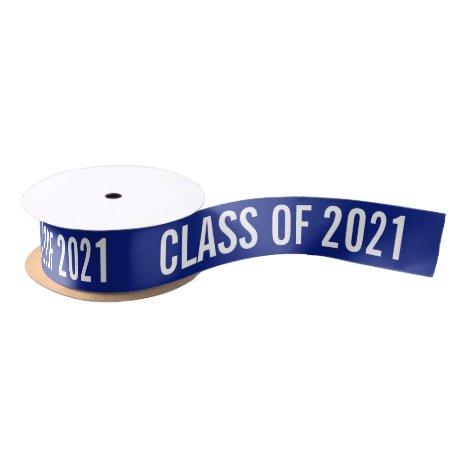 White Graduate Class Of 2021 Typography Navy Blue Satin Ribbon