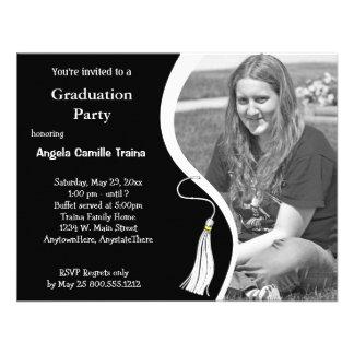 White Graduation Horizontal Photo Invitation
