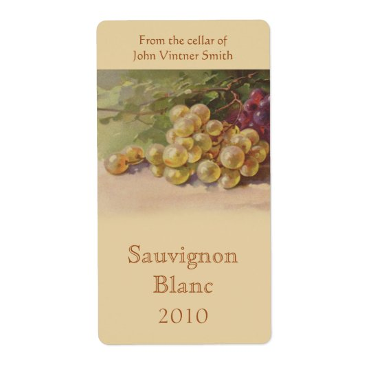 White Grape Wine Bottle Label