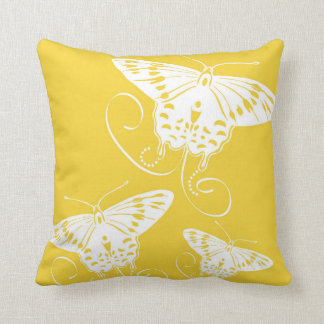 White Graphic Butterflies on Bright Yellow Pillow