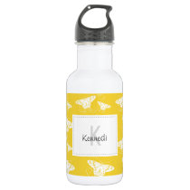 White Graphic Butterflies on Bright Yellow Water Bottle