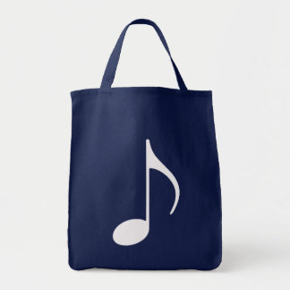 white graphic musical note tote bag