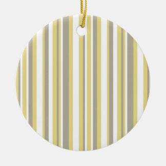White, Gray and Beige Vertical Stripe Pattern Ceramic Ornament
