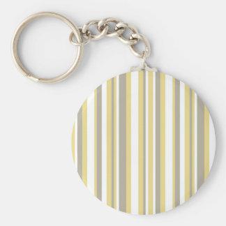 White, Gray and Beige Vertical Stripe Pattern Keychain
