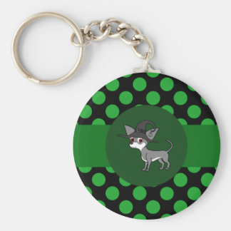 White & Gray Chihuahua Witch with Green Dots Basic Round Button Keychain