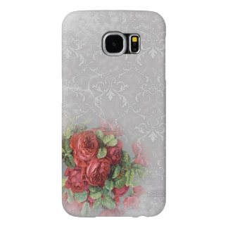 White Gray Damask Red Roses Floral Green Samsung Galaxy S6 Case