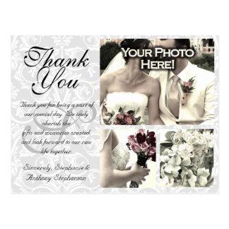White/Gray Damask Wedding Thank You Card 3 Photos