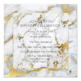 White Gray Marble Birthday Party Golden Brushes Card