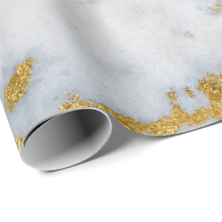 White Gray Marble Golden Shiny Brushes Wrapping Paper