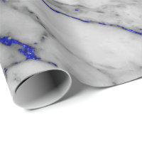 White Gray Marble Shiny Blue Navy Brushes Wrapping Paper