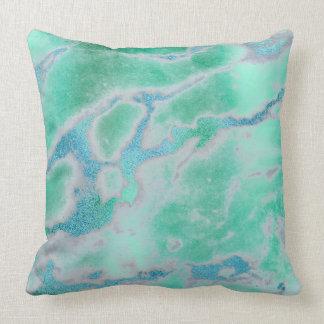 White Gray Mint Green Ocean Blue Gold VIP Marble Throw Pillow