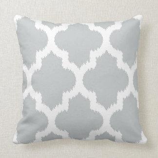 White & Gray Modern Quatrefoil Ikat Pattern Throw Pillow