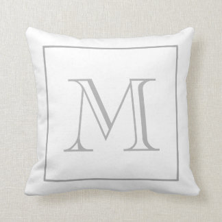 White Gray Monogram Throw Pillow