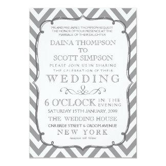 White Gray Neutral Alloy Chevron Stripes Wedding Card