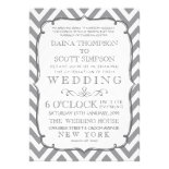White Gray Neutral Alloy Chevron Stripes Wedding Invitation