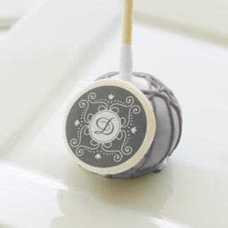 White gray ornament personalized monogram initial cake pops