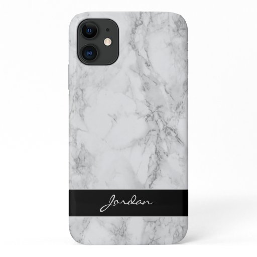 White & Gray Polished Marble Stone with Name iPhone 11 Case
