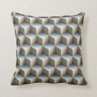 White & Gray Shaded 3D Look Cubes Throw Pillows