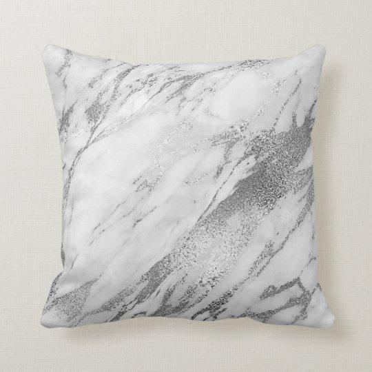 White Gray Silver Glam Marble Throw Pillow