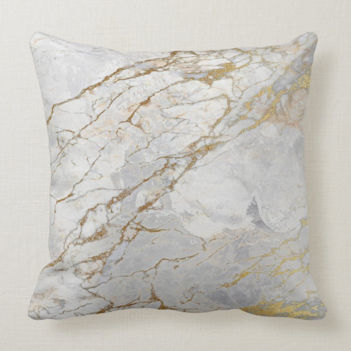 White Gray Silver Pearly Gold VIP Brush Marble Throw Pillow