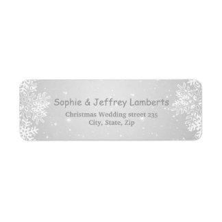 White gray snowflakes on gray Christmas Label