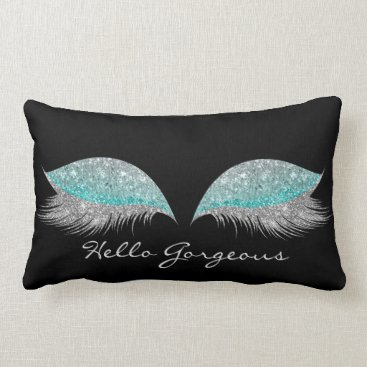 McTiffany Tiffany Aqua White Gray Tiffany Makeup Lashes Gorgeous Black Lumbar Pillow