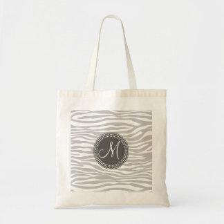 White & Gray Zebra Monogram Pattern Tote Bags