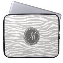 White & Gray Zebra Monogram Pattern Computer Sleeve