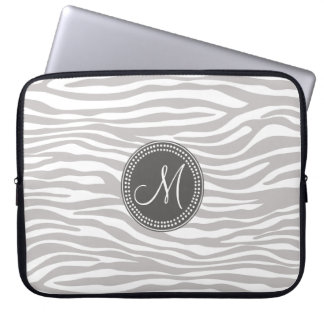 White & Gray Zebra Monogram Pattern Computer Sleeve