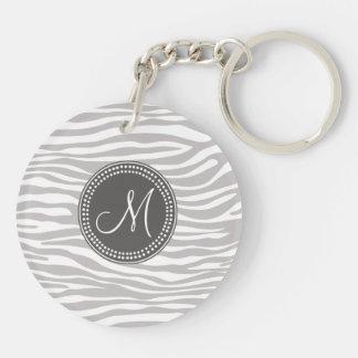 White & Gray Zebra Monogram Pattern Double-Sided Round Acrylic Keychain
