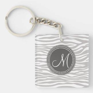 White & Gray Zebra Monogram Pattern Double-Sided Square Acrylic Keychain