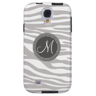 White & Gray Zebra Monogram Pattern Galaxy S4 Case