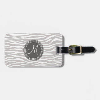 White & Gray Zebra Monogram Pattern Luggage Tag
