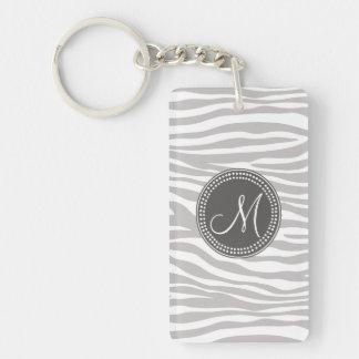 White & Gray Zebra Monogram Pattern Single-Sided Rectangular Acrylic Keychain