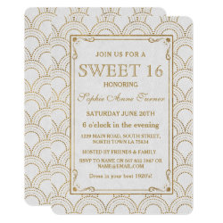 White Great Gatsby Art Deco Gold Sweet 16 Invite