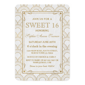 White Great Gatsby Art Deco Gold Sweet 16 Invite