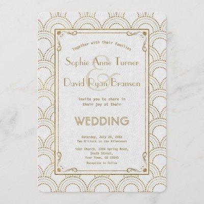White Great Gatsby Art Deco Gold Wedding Invite