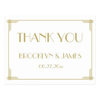 White Great Gatsby Art Deco Wedding Thank You Postcard