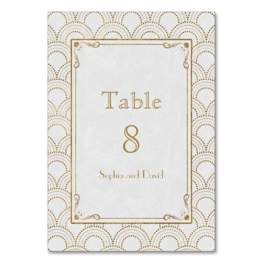 White Great Gatsby Gold Art Deco Table Number
