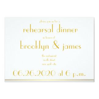 White Great Gatsby Wedding Rehearsal Invitations