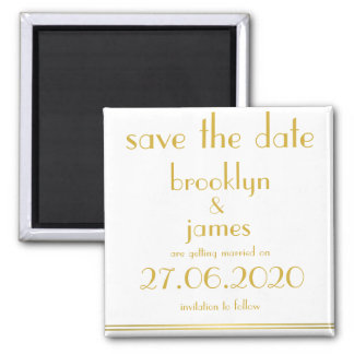 White Great Gatsby Wedding Save The Date Magnet