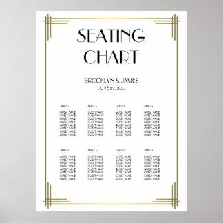 White Great Gatsby Wedding Seating Chart 18x24