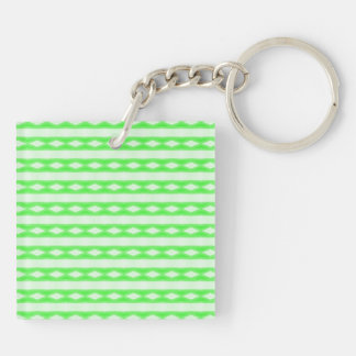 White & green abstract pattern keychain
