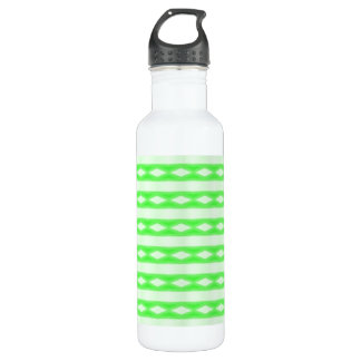 White & green abstract pattern water bottle