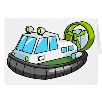 White, Green, and Black Cartoon Hovercraft Greeting Card