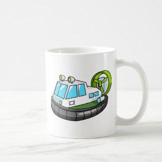 White, Green, and Black Cartoon Hovercraft Coffee Mug