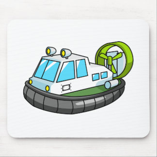 White, Green, and Black Cartoon Hovercraft Mouse Pad