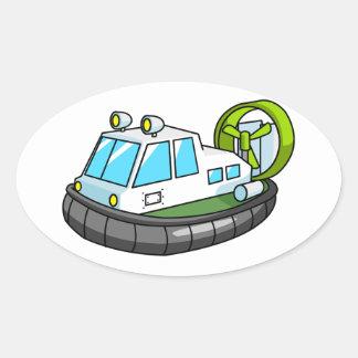 White, Green, and Black Cartoon Hovercraft Oval Sticker